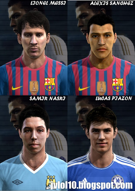 Face de Lionel Messi do Barcelona, Face de Alexis Sánchez do Barcelona, Face de Samir Nasri do Manchester City e Face de Lucas Piazon do Chelsea para PES 2012 Download, Baixar Faces de Messi, Alexis Sánchez, Nasri e Lucas Piazon para PES 2012