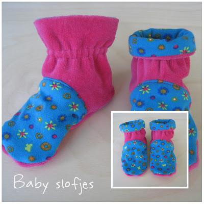 Baby slofjes gemaakt van nicky velours en tricot