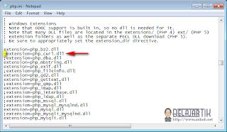 Mengaktifkan ekstensi php curl di php.ini