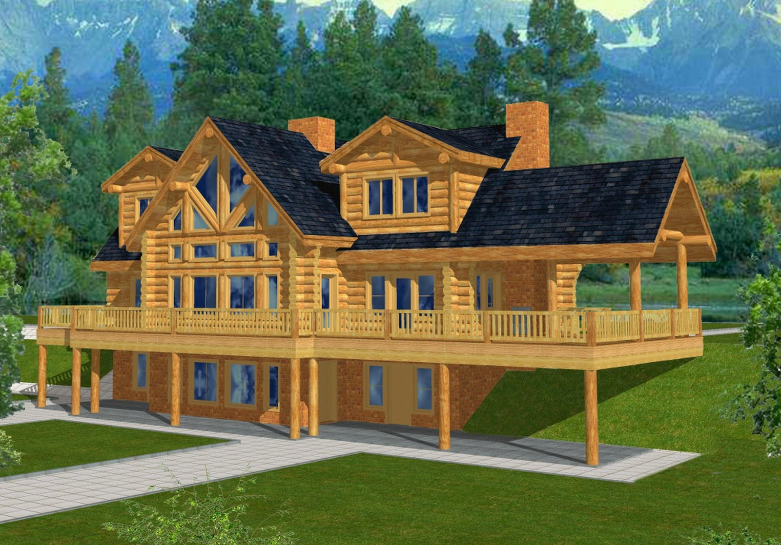 Mountain home plans with walkout basement for Mountain house plans