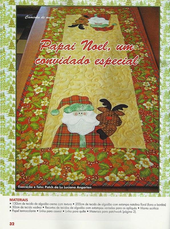 Caminho de mesa natalino em patchwork com moldes