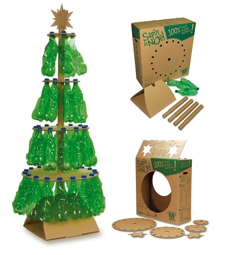 Rbol navide o con botellas pl sticas sembrando futuro for Arbol de navidad con cajas de carton