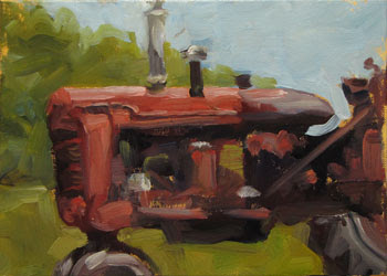 oil painting old farmall