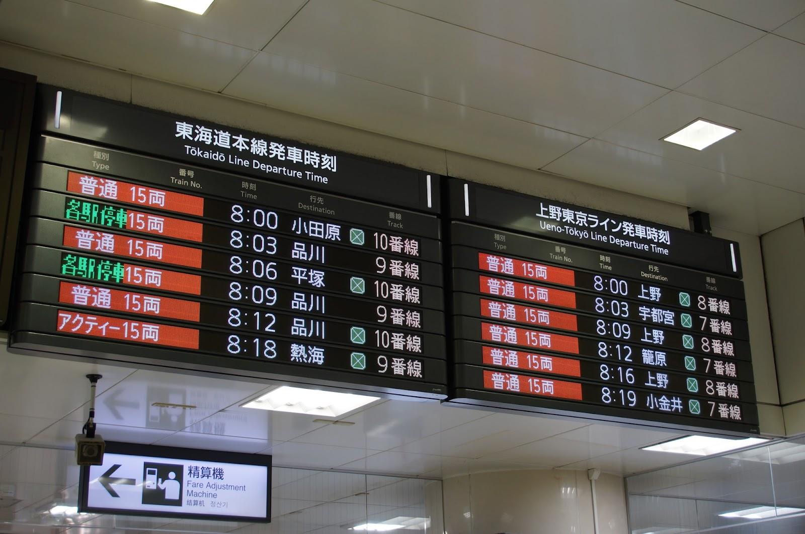 上野東京ライン東京駅のラッシュ時の電光掲示板