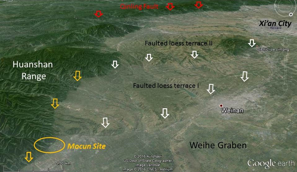 the epicentral area of the 1556 huaxian earthquake dissected by a series of e w normal faults view to the south