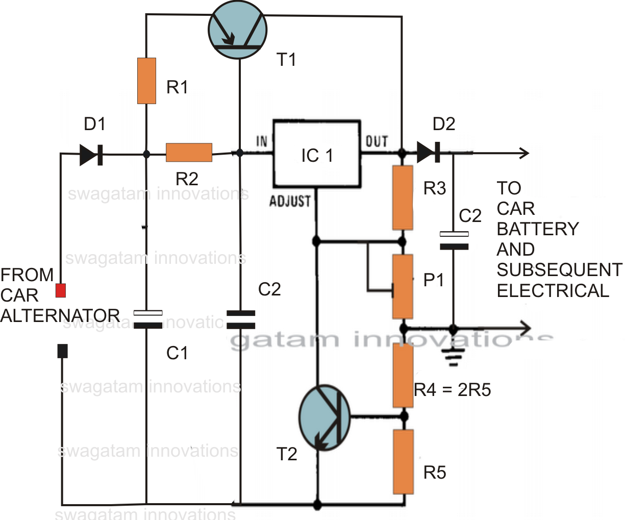 triac controlled mains voltage stabilizer circuit