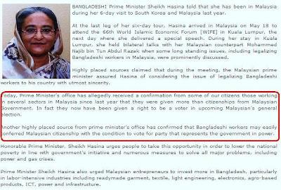 PM Bangladesh akui rakyatnya dapat hak mengundi di Malaysia