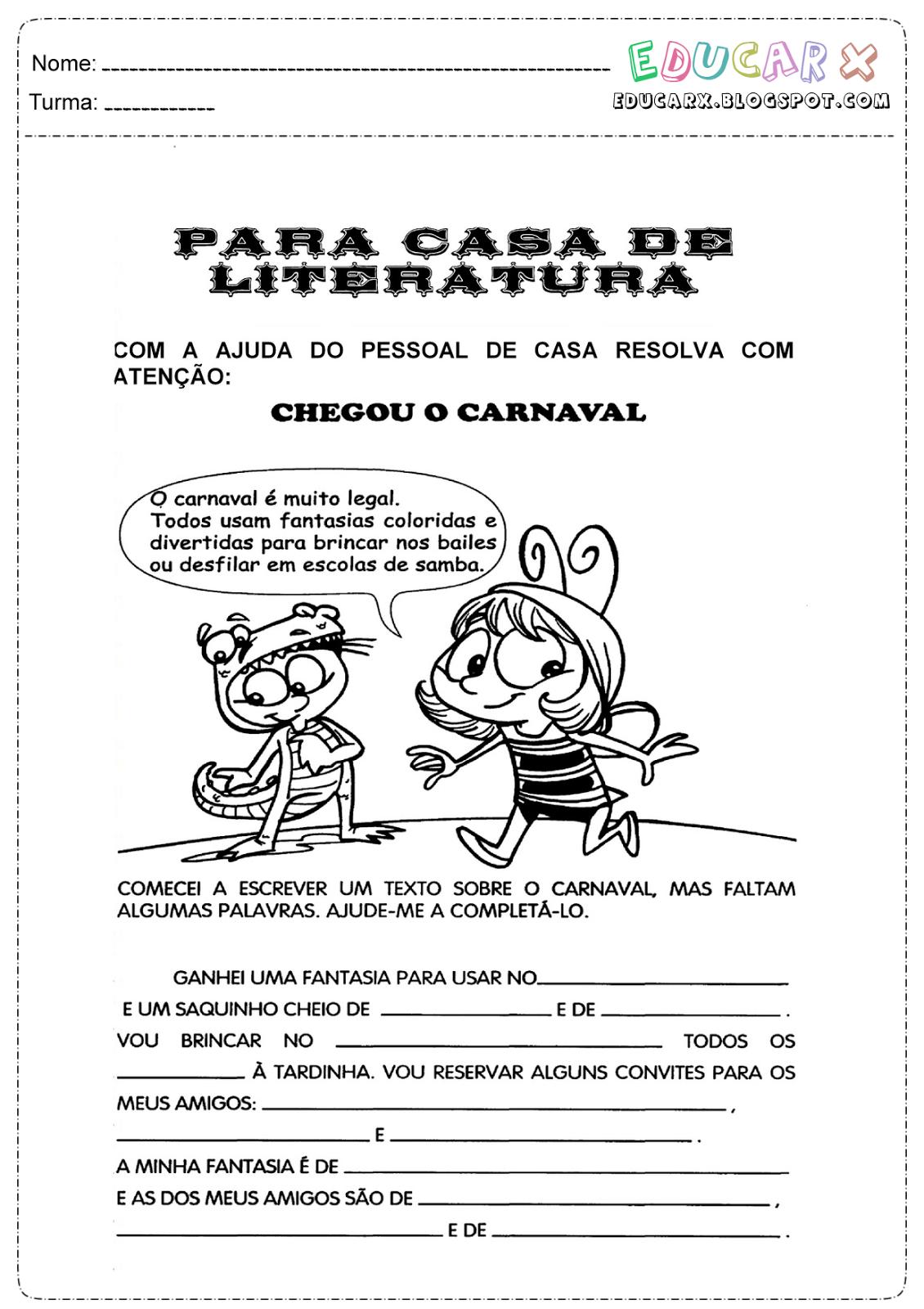 atividades texto sobre o carnaval