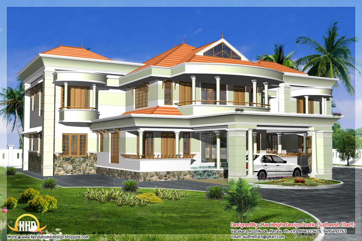 Indian style 3d house elevations kerala home design and for Home plans 3d designs