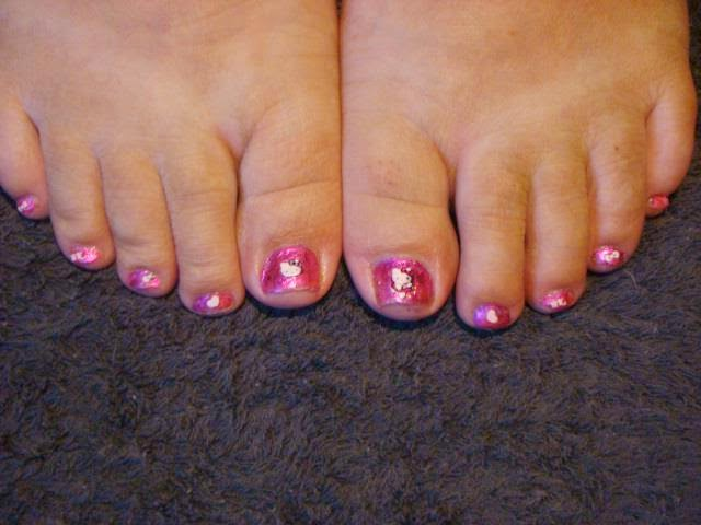 Pink mylar glitter foils with Hello Kitty Tattoo sticker nail art Topcoat & PEDICURE