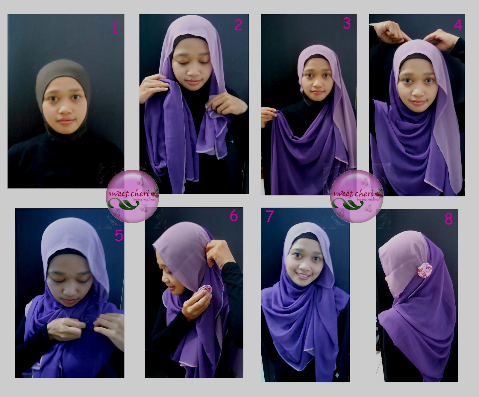 Tutorial Hijab Dua Warna