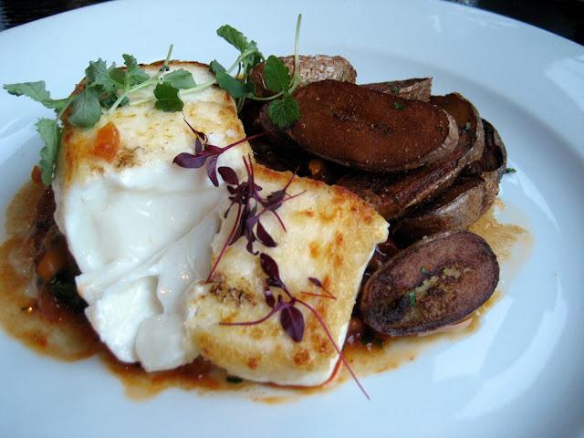 Roast Halibut, piperade, fingering potatoes hispaniola dinner Thames