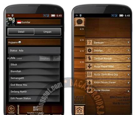 BBM mod Tema wood kayu keren terbaru sudah ada musik status