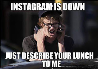 Instagram is down just describe your lunch to me meme ugly guy on two phones socially awkward
