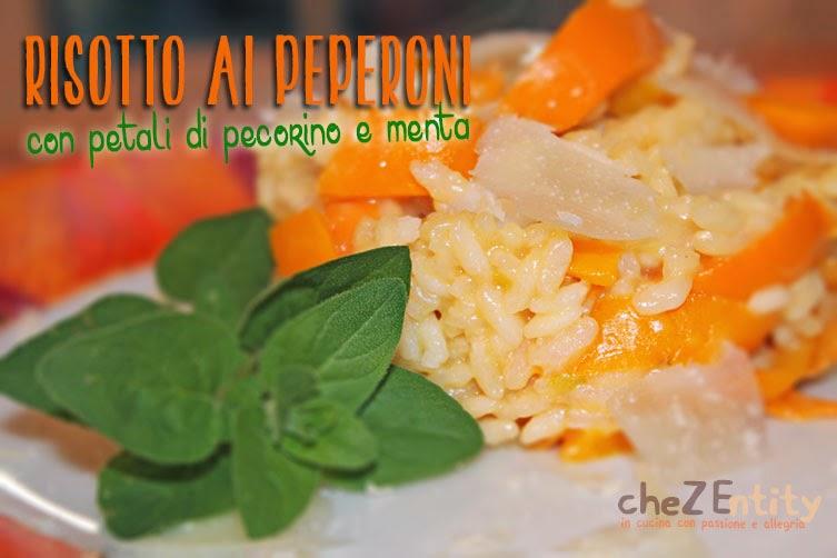 risotto ai peperoni con petali di pecorino e menta