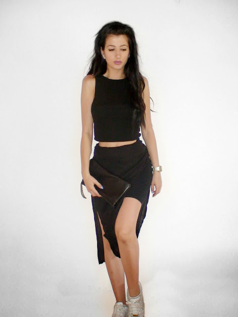 diy skirt total black outfit