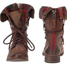 Flannel steve madden combat boot fashion