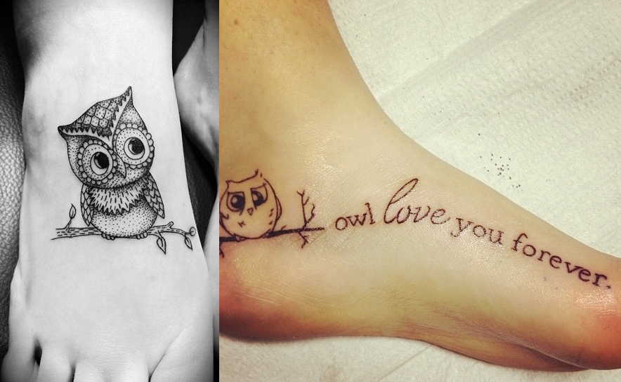 Cute owl tattoos on foot - photo#3
