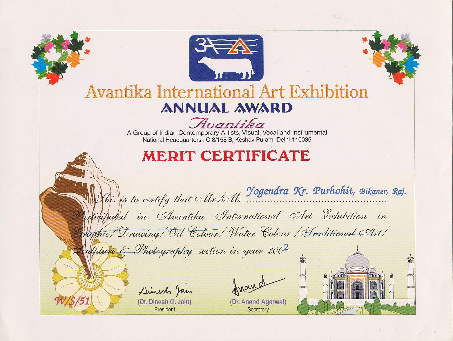 Certificate OF Avantika International Art Exhibnition 2002 , Delhi.  Merit Certificate Comments
