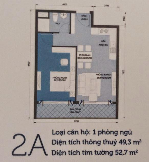 Căn hộ Vinhomes Central Park 6 - căn hộ số 2A - 52,7m2 - 1PN