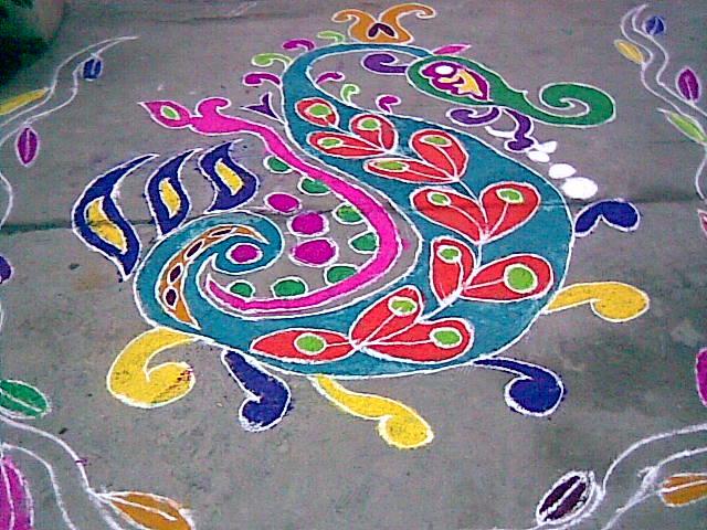 sankranthi muggulu and Mehandi designs...: peacock muggulu