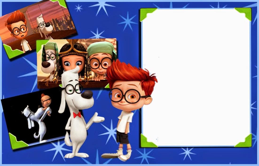 Invitación, Marco de Fotos o Etiqueta de Mr. Peabody y Sherman para Imprimir Gratis.