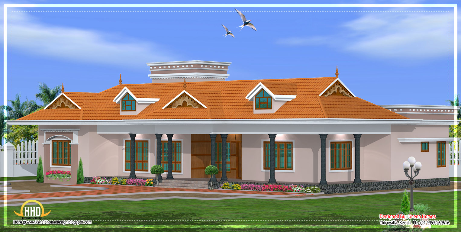 Kerala single story house model 2800 sq ft kerala for Single floor house plans kerala style