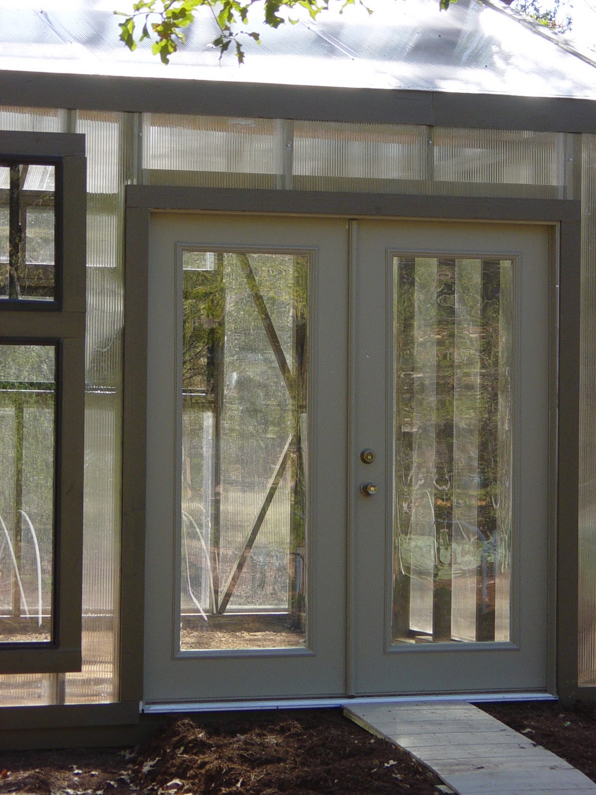 Garden ally greenhouse build week four - How wide are exterior french doors ...