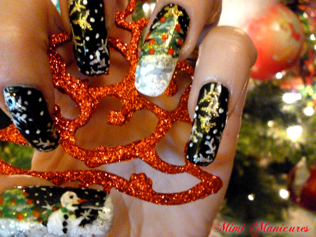 my adventures in nail polish: Christmas Nail Art Challenge day 1