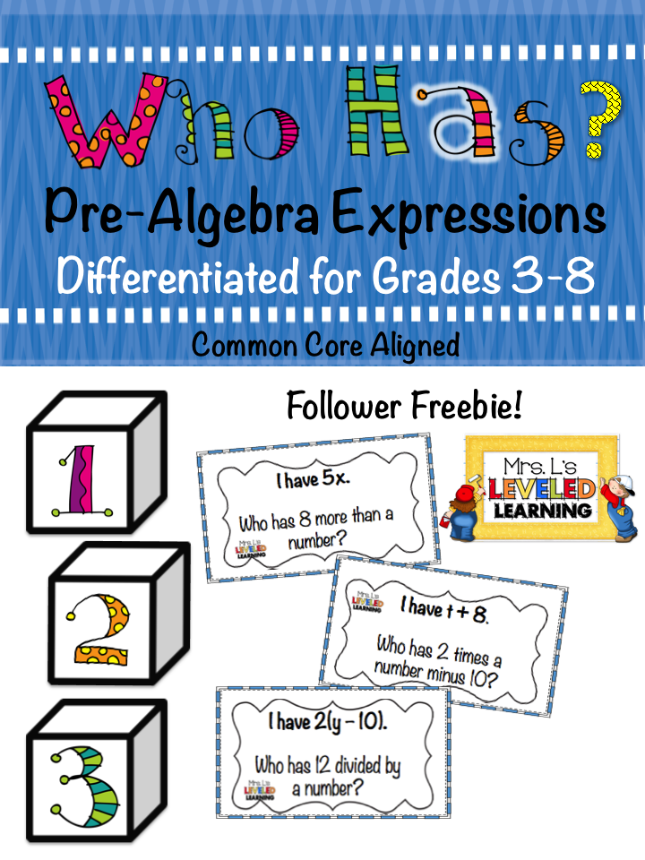 Pre-Algebra Manipulatives and Apps - Mrs. L\'s Leveled Learning