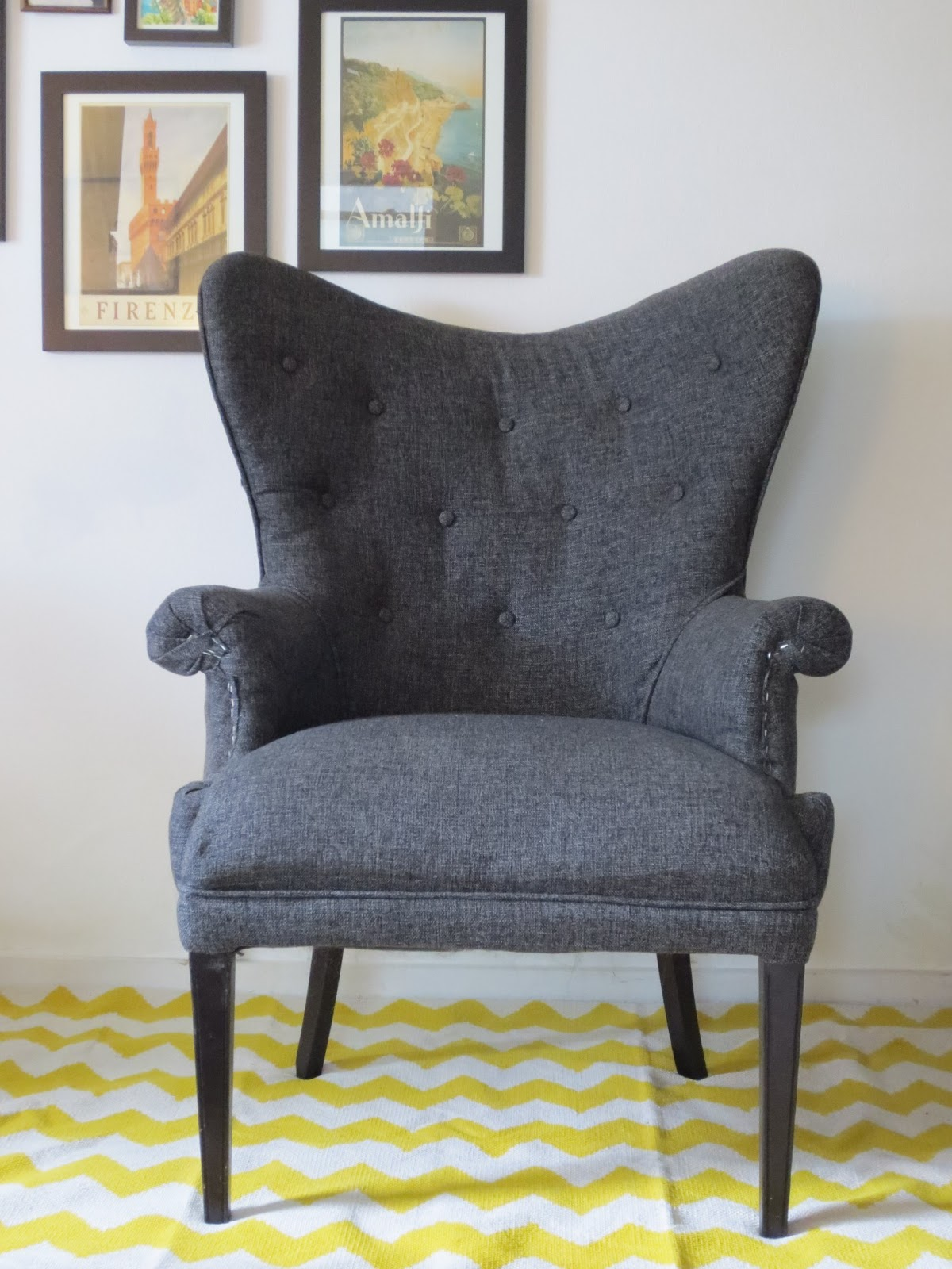 Chevron wing chairs - Reupholstering A Chair In Photos