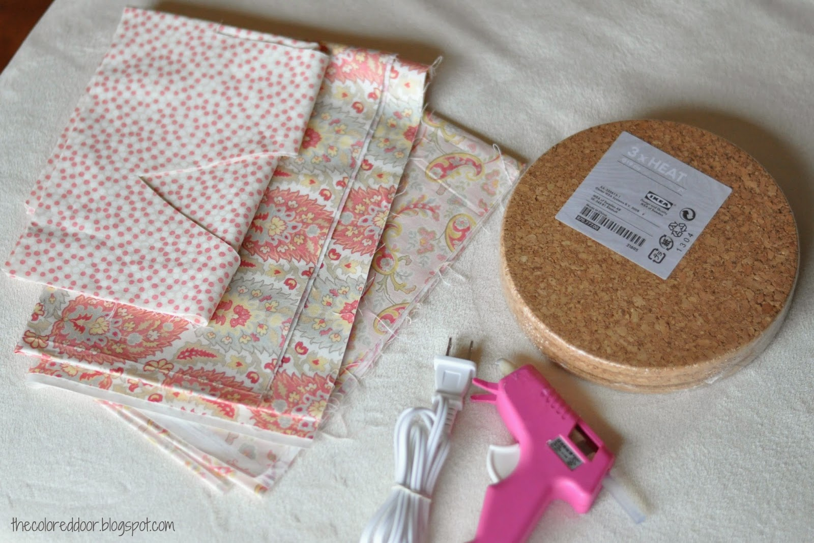 fabric covered cork trivets - the colored door