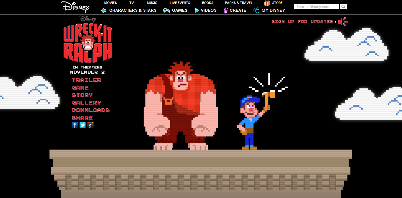 The Wreck-It Ralph Website's Up