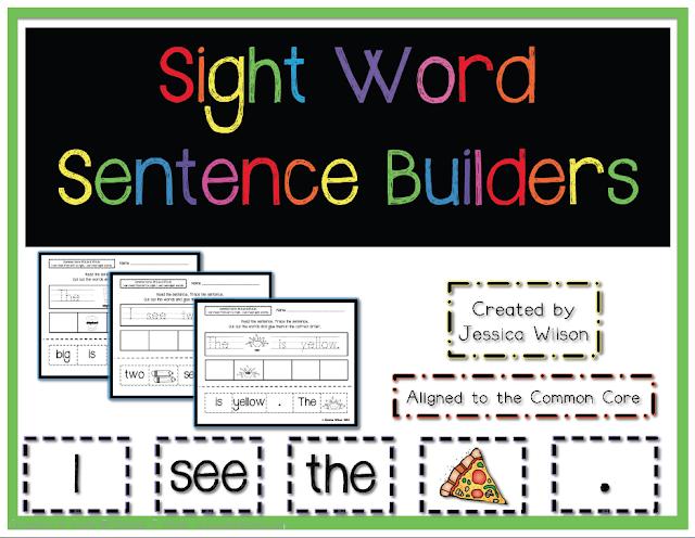 Little Learning Stars: Sight Word Sentence Builder Worksheets