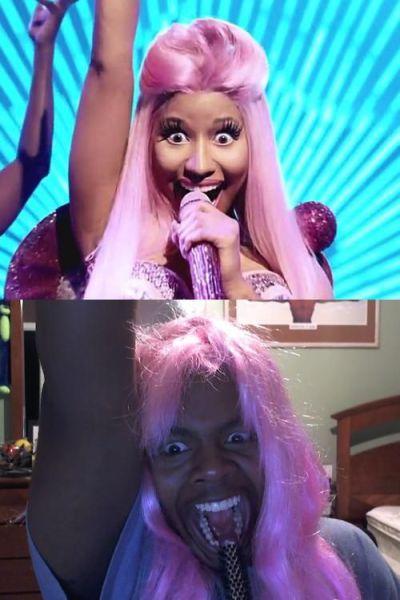 Homem imitando a Nicki Minaj