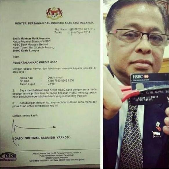 Menteri Batal Kad Kredit Tanda Protes HSBC