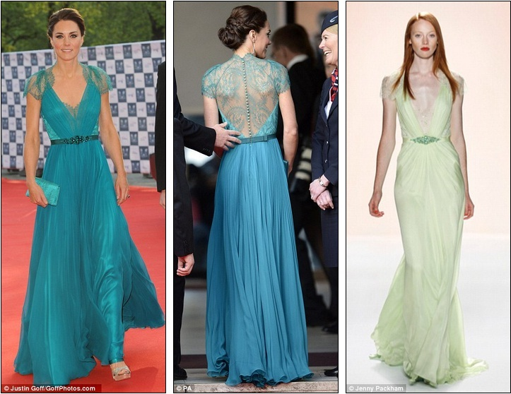 Sheer beauty: The Duchess of Cambridge looks stunning in daring teal ...