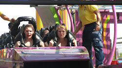 Elsie and Noelle ready to go on the rollercoaster.
