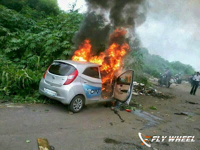 Two Hyundai Eons Caught In Fire In Mumbai