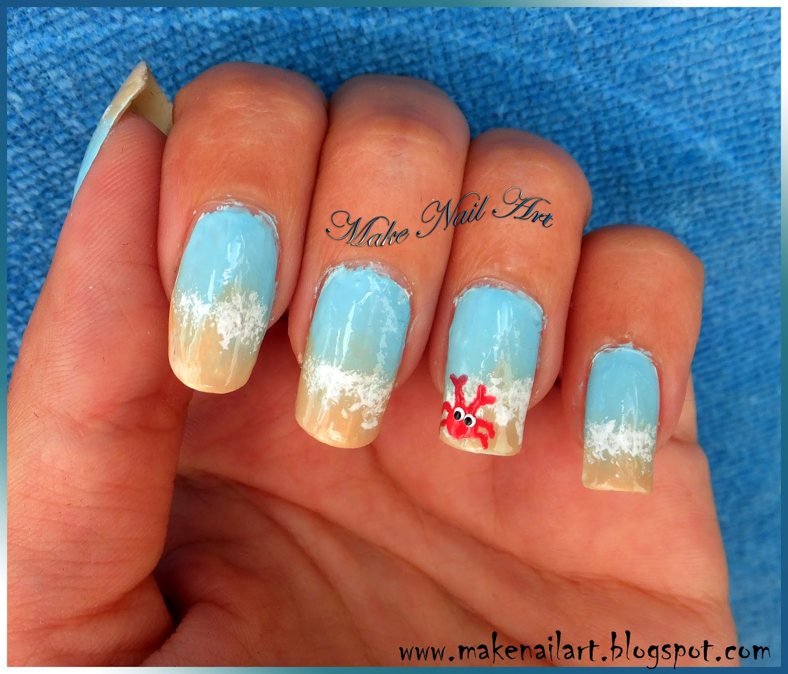 Make nail art easy beach nails with a crab nail art tutorial easy beach nails with a crab nail art tutorial prinsesfo Gallery