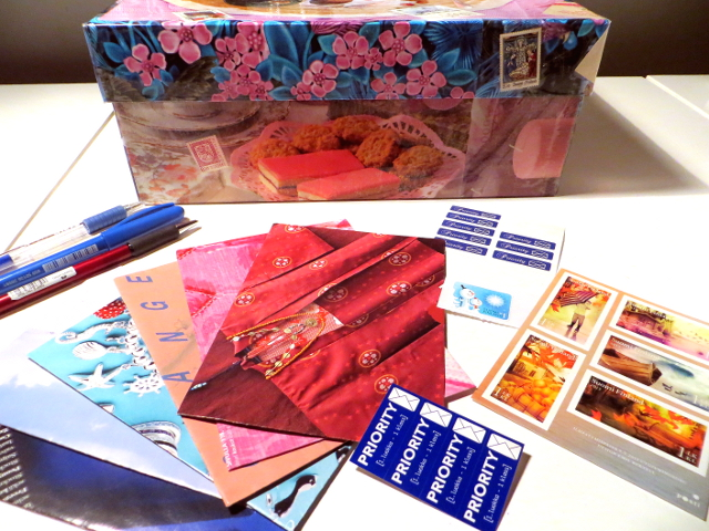 Sunset colors and lettering in the first letter of the year. And how to store Postcrossing cards.