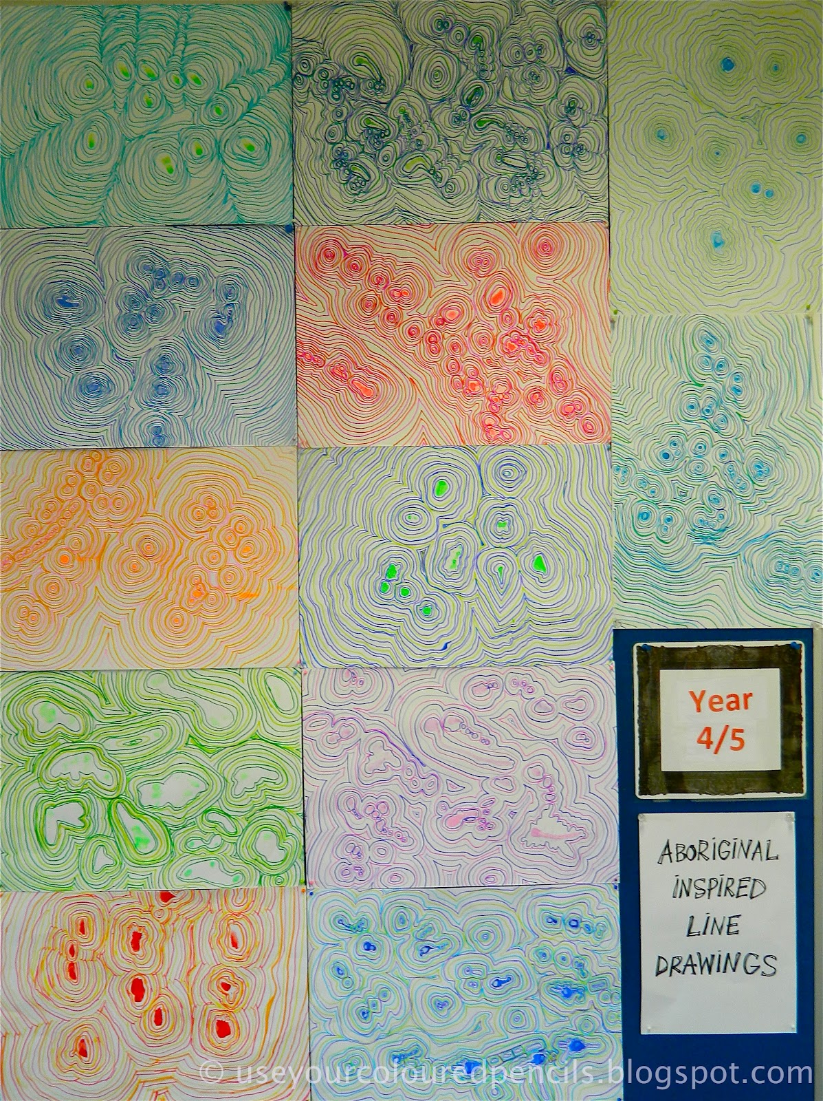 use your coloured pencils aboriginal inspired line drawings