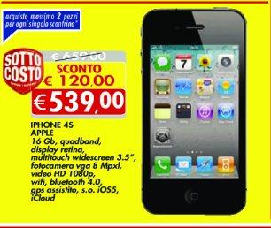 Offerta sull'iPhone 4 s 16 GB a 539 euro