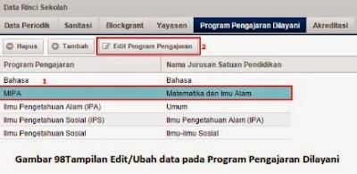 Untuk Ubah data Program Pengajaran Dilayani
