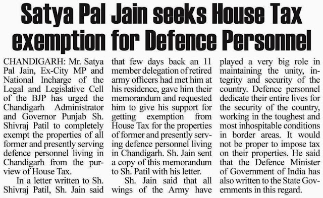 Satya Pal Jain seeks House Tax exemption for Defence Personnel