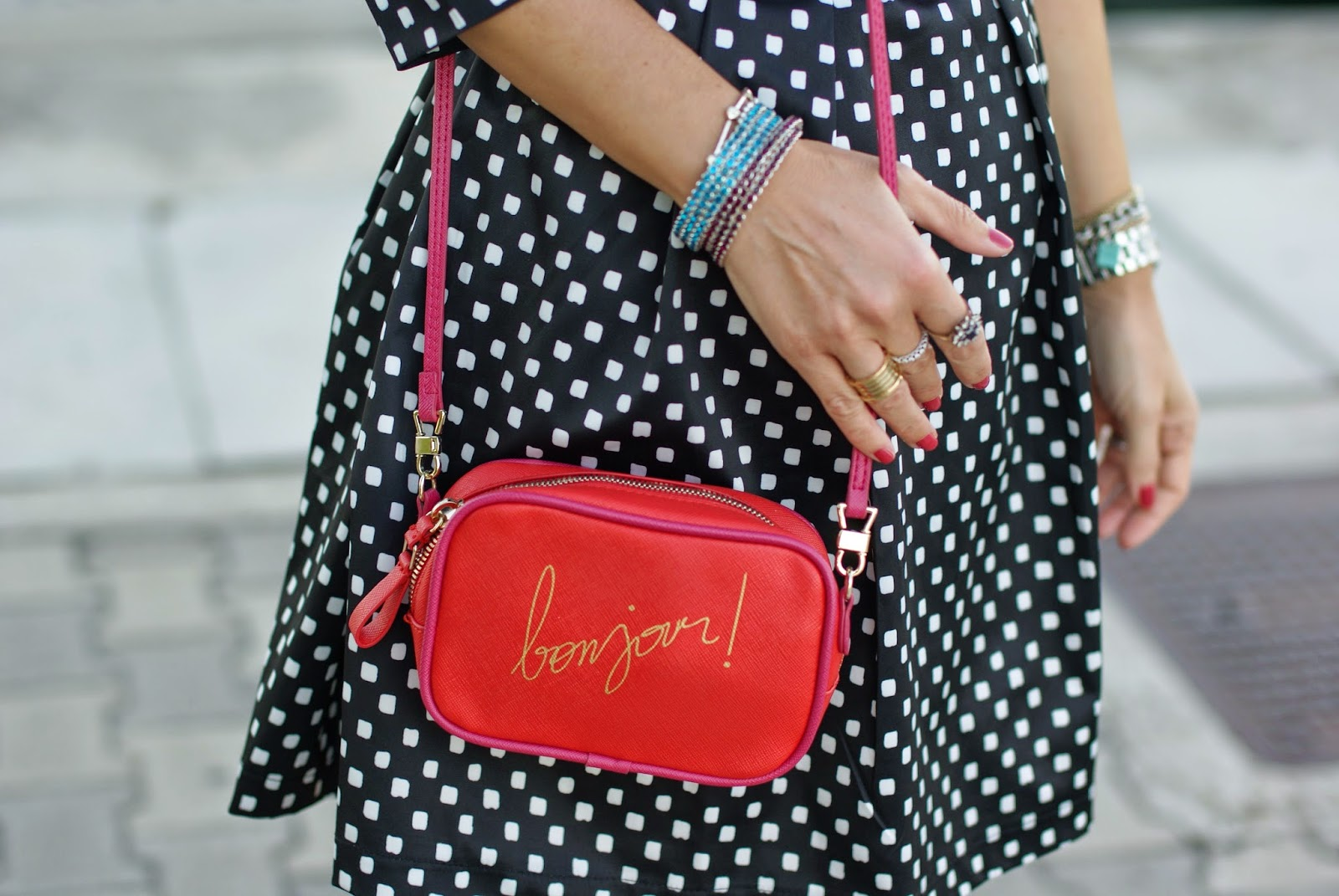 polka dots dress, bonjour bag, Zara bonjour bag, Fashion and Cookies, fashion blogger