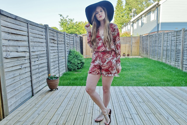 red paisley playsuit asos