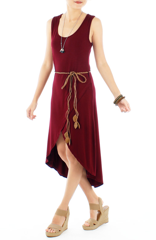 Auburn Slouchy Dip Back Wrap Dress with Woven Leaf Belt