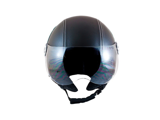 MT RETRO BLACK LEATHER OPEN FACE MOTORCYCLE VINTAGE  HELMET