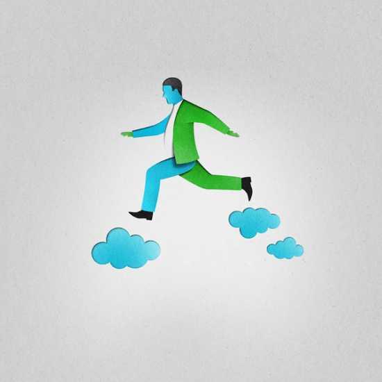 eiko ojala ilustração cortes de papel Andando nas nuvens